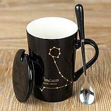 Yomiokla 12 Sternbild Becher Keramik Becher Paare Tasse Cappuccino Tasse mit Deckel Schaufel, schwarzer Fisch base