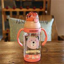 Yomiokla Baby Nursery 2 Griffe, Plastik Tasse schönen cartoon Kinder gebären auslaufsichere Becher outdoor Trinkbecher, Rosa
