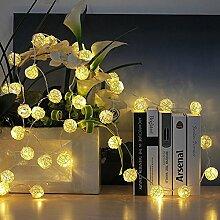 Yonfan 30er LED Rattan Lichterkette Warmweiß