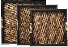 YONG Retro-Stil Familie von vier Bambus Tee Tablett Obstteller Tablett Home Decoration