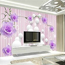 Yonthy 3D Tapete Wohnzimmer Schlafzimmer Lila Rose