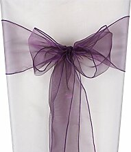 Yontree 50 St¨¹ck Knoten aus der Taufe Partei Stuhl-Organza Stuhlabdeckung Fliege Hochzeits -Dekoration 275cm x 18cm