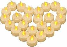 Yooyee LED Kerzen 24 Stück Flammenlose Teelichter