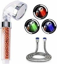 YoRiBo LED Duschkopf mit Schlauch,3-Farben
