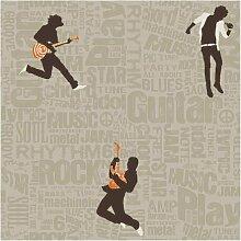 York Wallcoverings Rocker Tapete, chocolate brown/orange/dusty taupe, Wallpaper