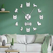 Yorkshire Terrier Wanduhr mitDIYSpiegel