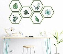 YOSICIK Wandaufkleber Pflanzen Blatt Hexagon Po
