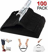 Yosoo Beflocken Kunststoff Platzsparend Kleiderbügel Kleidung Anzug/Hemd/Hose Bügeln Set, 100 Stück, 445x6x245mm