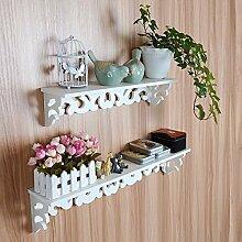 Yosoo Landhaus Weiß Wandregal Shabby Chic Wandkonsole Hängeregal Wandablage mit Schraube