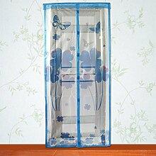 Yosoo Magnetische Bildschirm Mesh Vorhang Anti Mosquito Fliegen Insekt Bug Pest Tür Vorhang Net Sommer Zubehör 82 × 35inch ( Farbe : Blau )