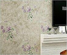 Yosot Amerikanische Blume Vlies Tapete Die Auf Alten Schlafzimmer Wohnzimmer Sofa Tv Wallpaper Lila Farbe