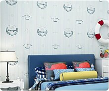 Yosot Zimmer Jungen Mädchen Kinder- Schlafzimmer Vertikale Streifen Tapete Vlies Umweltschutz Wallpaper. Blau