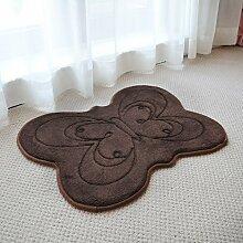 YOTA HOME Teppiche Fußmatten Teppich Teppich Bad Matten Tür Hause Matten Schlafzimmer Flur Schiebetür Matte Küche Matte Rutschfeste 45 * 60 cm (Farbe : Braun)