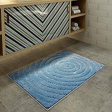YOTA HOME Teppiche Mats Fashion Badezimmer Teppich Teppich Tür Europäischen Stil Tür Saugfähigen Badezimmer Matte Kann Maschine Waschen 50 * 80 cm (Farbe : Blue B.)