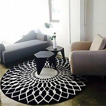 YOTA HOME Teppiche Teppich Schwarz und Weiß Runden Nordic Stilvolle Wohnzimmer Couchtisch Großes Schlafzimmer Studie Clubhaus 80cm, 100cm, 120cm (Farbe : Schwarz, Größe : 100cm)