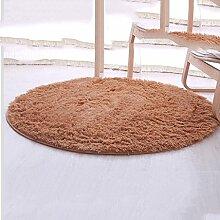 YOTA HOME Teppiche Teppich Teppich Runde Wohnzimmer Computer Stuhl Verdickt Korb Schlafzimmer Couchtisch Teppich 120cm (Farbe : Kamel)