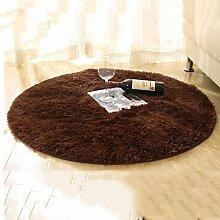 YOTA HOME Teppiche Teppich Teppich Runde Wohnzimmer Computer Stuhl Verdicken Schlafzimmer Couchtisch Hängekorb Teppich 100 cm (Farbe : Braun)