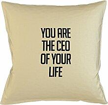 You Are The Ceo Of Your Life Motivational Kissenbezug Haus Sofa Bett Dekor Beige