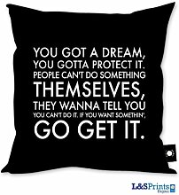 YOU GOT A DREAM BUS BLIND BLACK DESIGN CUSHION 18 X 18 IDEAL GIFT NOVELTY MADE IN YORKSHIRE by L&S PRINTS FOAM DESIGNS