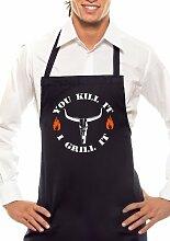 YOU KILL IT! I GRILL IT! - STIER - Zweifarbig - Grillschürze Schwarz / Orange-Weiss