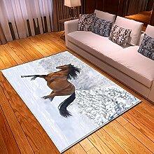 YOUHU Wohnzimmer Rutschfester Teppich,Tierdruck