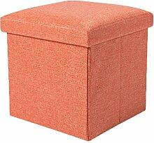 YOUJIA Aufbewahrungsbox Lagerung Hocker Fußbank Sitzwürfel Sitzbox Faltbar Sitztruhe Sitzkasten Polsterhocker Truhe (Orange,30*30*30cm)