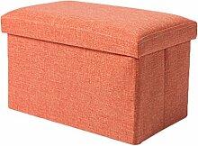 YOUJIA Aufbewahrungsbox Lagerung Hocker Fußbank Sitzwürfel Sitzbox Faltbar Sitztruhe Sitzkasten Polsterhocker Truhe (Orange,40*25*25cm)