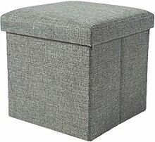 YOUJIA Aufbewahrungsbox Lagerung Hocker Fußbank Sitzwürfel Sitzbox Faltbar Sitztruhe Sitzkasten Polsterhocker Truhe (Grau,30*30*30cm)