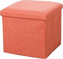 YOUJIA Sitzhocker Lagerung Hocker Sitzbank Faltbar Polsterhocker Kasten Sitzwürfel Aufbewahrungsbox Stuhl Sitzbox (Orange,38*38*38cm)