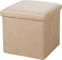 YOUJIA Sitzhocker Lagerung Hocker Sitzbank Faltbar Polsterhocker Kasten Sitzwürfel Aufbewahrungsbox Stuhl Sitzbox (Grau,30*30*30cm )