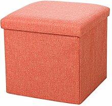 YOUJIA Sitzhocker Lagerung Hocker Sitzbank Faltbar Polsterhocker Kasten Sitzwürfel Aufbewahrungsbox Stuhl Sitzbox (Orange,30*30*30cm)