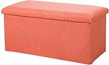 YOUJIA Sitzhocker Lagerung Hocker Sitzbank Faltbar Polsterhocker Kasten Sitzwürfel Aufbewahrungsbox Stuhl Sitzbox (Orange,40*25*25cm)