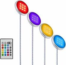 YOUKOYI RGB LED Schrankbeleuchtung mit Fernbedienung Farbwechsel LED Unterbauleuchte Regalbeleuchtung Einbaulampen Einbauleuchten Schrankleuchten Schranklampe Schranklicht Unterbaubeleuchtung Unterschrank Beleuchtung, 4er Pack