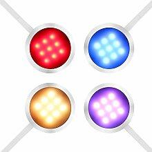 YOUKOYI RGBW LED Schrankbeleuchtung mit Fernbedienung 8W Farbwechsel LED Vitrinenbeleuchtung Unterschrankbeleuchtung Schrankleuchten Schranklicht Unterbauleuchte Einbauleuchten mit 12V Netzteil