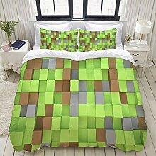 YOUMEISU Bedding Bettwäsche-Set,Minecraft Cubes