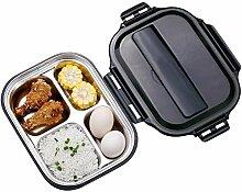 YouN Edelstahl Thermo-Bento-Lunchbox mit Fächern