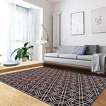 Young baby Teppich Six-sided geometrisches Muster-Wolldecke-Wohnzimmer-Sofa-Kaffee-Tabellen-Schlafzimmer-völlig geladener rechteckiger Teppich, rot-braunes Blau-Grau/Größe: 120 * 170cm (Color : Red)