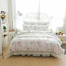 Young17 Bettwäsche Set 100% Baumwolle Spitze Prinzessin Stil Bett Rock Bettbezug 4er Set (1 Bettbezug & 1 Bett Rock & 2 Kissenbezüge) für Schlafzimmer Blumen im Frühling, König