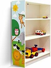 YOURDEA - Aufkleber für Kinderzimmer Möbel IKEA Billy Regal 100x80cm mit Motiv: Wilde Tiere für die linke Seitenwand