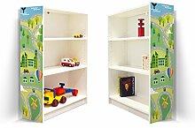 YOURDEA - Aufkleber für Kinderzimmer Möbel IKEA Billy Regal 100x80cm mit Motiv: Land Auf und Ab für beide Seitenwände