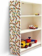 YOURDEA - Aufkleber für Kinderzimmer Möbel IKEA Billy Regal 100x80cm mit Motiv: Bunte Ketten für die linke Seitenwand