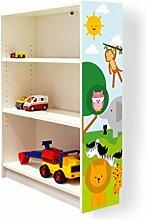 YOURDEA - Aufkleber für Kinderzimmer Möbel IKEA Billy Regal 100x80cm mit Motiv: Wilde Tiere für die rechte Seitenwand