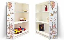 YOURDEA - Aufkleber für Kinderzimmer Möbel IKEA Billy Regal 100x80cm mit Motiv: Love für beide Seitenwände