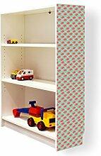 YOURDEA - Aufkleber für Möbel IKEA Billy Regal 100x80cm mit Motiv: Rotes Fähnchen für die rechte Seitenwand