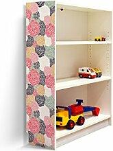 YOURDEA - Aufkleber für Möbel IKEA Billy Regal 100x80cm mit Motiv: Einfache Blüten für die linke Seitenwand