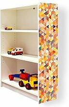 YOURDEA - Aufkleber für Möbel IKEA Billy Regal 100x80cm mit Motiv: Kaleidoskop für die rechte Seitenwand