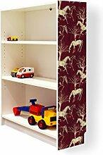 YOURDEA - Aufkleber für Möbel IKEA Billy Regal 100x80cm mit Motiv: Pferd Variation für die rechte Seitenwand