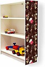 YOURDEA - Aufkleber für Möbel IKEA Billy Regal 100x80cm mit Motiv: Hundsrose für die rechte Seitenwand