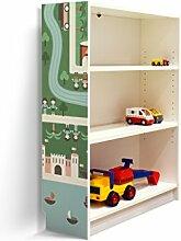 YOURDEA - Kinderzimmer Möbel Klebefolie für IKEA Billy Regal 100x80cm mit Motiv: Q Stadt Detail für die linke Seitenwand