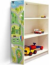 YOURDEA - Kinderzimmer Möbel Klebefolie für IKEA Billy Regal 100x80cm mit Motiv: Land Auf und Ab für die linke Seitenwand